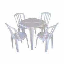 Conjunto De Mesa Quadrada + Cadeiras De Plastico Solplast