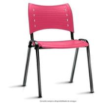 Cadeira Fixa Plástico Igreja Escola Iso Resistente Rosa