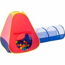 Barraca Infantil Toca Tunel Cabana 2 Em 1 60 Bolinhas