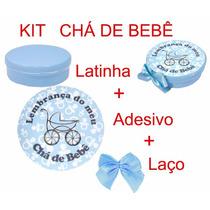 Lembrancinha Chá De Beb Menino 20 Latinha 20 Adesivo 20 Laço