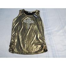 Blusinha Regata Dourada C/ Pedras /miçangas Oferta Única Top