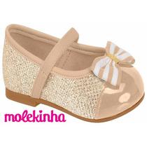 20% Off Sapatilha Boneca Molekinha Infantil Bebê - Dourada