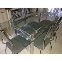 Mesa Toda Cromada Com 6 Cadeiras De Vidro