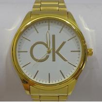 Relógio Masculino Dourado Luxo Ck Calvin Klein + Estojo