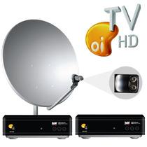 Kit Oi Tv Livre Hd 2 Pontos Lnbf Duplo + 2 Kit Cabo + Antena