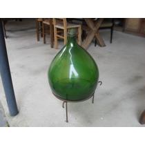Garrafao Esmoleiro Antigo C/suporte Anos 40 Cor Verde