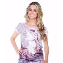 Camiseta Blusinha Ágape Feminina Jesus E Nossa Senhora!