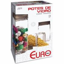 3 Potes De Vidro Com Tampa Porta Condimento Euro Quadrado