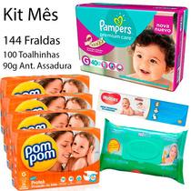Kit Fraldas Pampers G P/ Noite + Pompom P/ Dia + Brindes