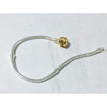 Pulseira Bracelet 18cm Banhada A Prata Fecho Dourado