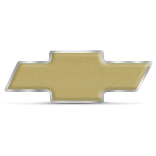 Emblema Resinado Chevrolet Dourado Fosco Com Borda Cromada 9