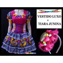 Vestido De Festa Junina + Tiara C/ Chapéu - Adulto - P Ao Gg