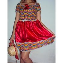 Vestido Junino Infantil Luxo Cetim Renda + Chapéu Tranças