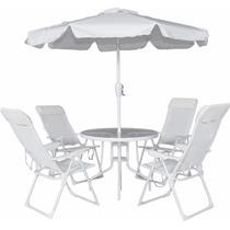 Conjunto Mônaco 100% Alumínio 4 Cadeiras Mesa E Ombrelone.