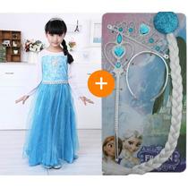 Vestido Frozen Elsa Longo Fantasia Princesa Elsa + Acessório