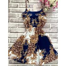 Vestido Estilo Boneca Cintura Marcada Alça Estampa Oriental