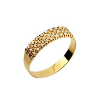 Leão Jóias Meia Aliança De Ouro 18k 27 Diamantes 0,5 Pts