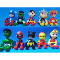 Kit Com 10 Mini Heróis Em Biscuit