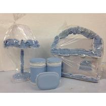 Kit Decoração Para O Quarto Do Bebê Abajur Farmacinha Azul
