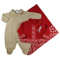 Saída De Maternidade Vermelha Menina Inverno Fofinho 3 Peças