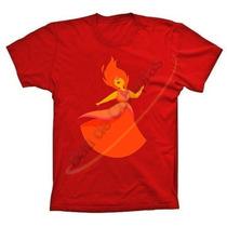 Camiseta Vermelha Algodão Princesa De Fogo Hora De Aventura