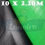 Lona Plástica Tecido Verde E Preto 10x2,20 M Sem Acabamento