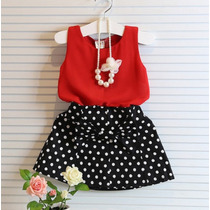 Conjunto Vestido Menina Infantil Bolinhas - Pronta Entrega