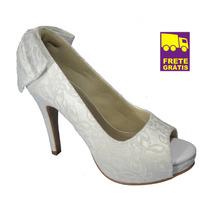 Peep Toe Up Shoes Sapato Renda Branca! Para Noivas!! Lindo!!