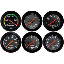 Manômetro Pressão Turbo Combustivel Óleo Ar Preto Cronomac