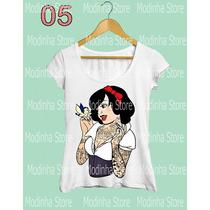 Blusa Tshirt Feminina Princesa Branca De Neve Punk Coca Cola