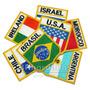 10 Escudo Bandeira Bordada 6,8x7,5cm Todos Países Brasil Etc
