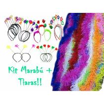 Kit Festa - 60 Marabú Pluma C/ Brilho + 30 Tiara