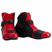 Bota Esportiva De Cano Curto Stark Texx Moto Racing Vermelha