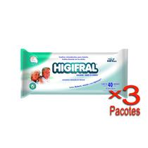 Toalha Umedecida Higifral Com 40 Un. - 3 Pacotes