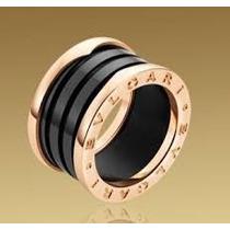 Aliança Bvlgari Banhada Em Ouro Rose18klts C/cerâmica Preta