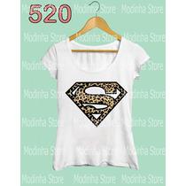 Camiseta Tshirt Feminina Super Man Girl Oncinha Moda Look