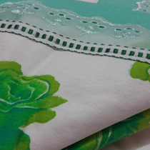 Lençol De Malha Casal Branco Verde Enxoval Cama Mesa Banho