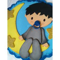 Placa Maternidade Ou Quarto Bebê Menino Na Lua Eva