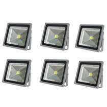 6 X Refletor Led Holofote 30w Bivolt Prova Dágua Branco Frio