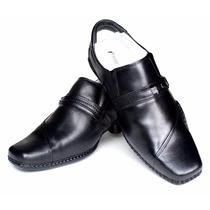 Sapato Masculino Confort Pele Carneiro Preto Sola Borracha