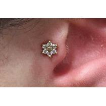 Piercing De Orelha Cartilagem Fl Ouro 18k Flor Helix Tragus