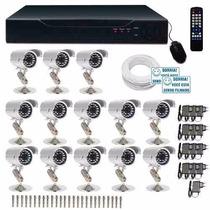 Kit Cftv Dvr 16 Ch + 13 Câmeras Infravermelho - C2015