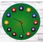 Relógio De Parede Em Madeira Mdf Snooker Sinuca Bilhar