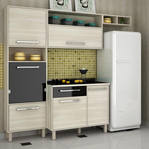 Cozinha Compacta Maia 01 Palmeira Móveis Jacarta / preto