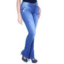 Sawary Calça Jeans Modela Bumbum Flar Elastano Cintura Média