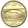 Quarter Dolar Banhada A Ouro 24k 2005 West Virginia Fc(1073)