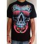 Camiseta Masculina Rock Motoqueiro Caveira Colorida Tatoo