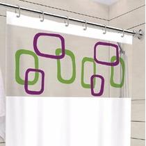 Cortina Pra Banheiro Box Personalizada C/ Visor Transparente