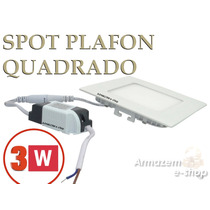 Kit 10 Painel Plafon Luminária Led Quadrado Embutir Slim 3w