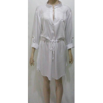 Vestido Feminino Curto Chemise Manga Longa Viscose Branco